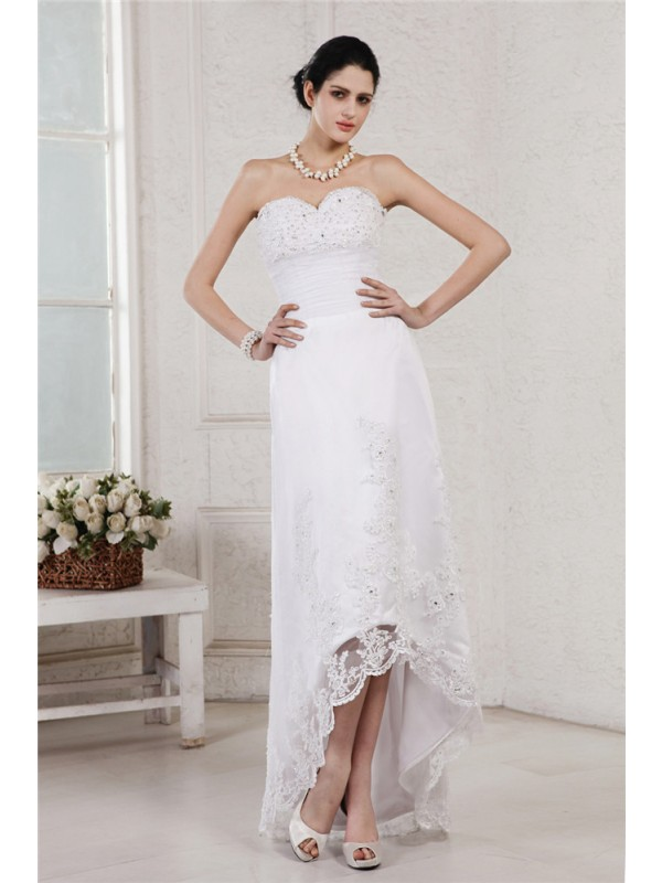 Sheath/Column Sweetheart Sleeveless Beading Applique High Low Organza Wedding Dresses