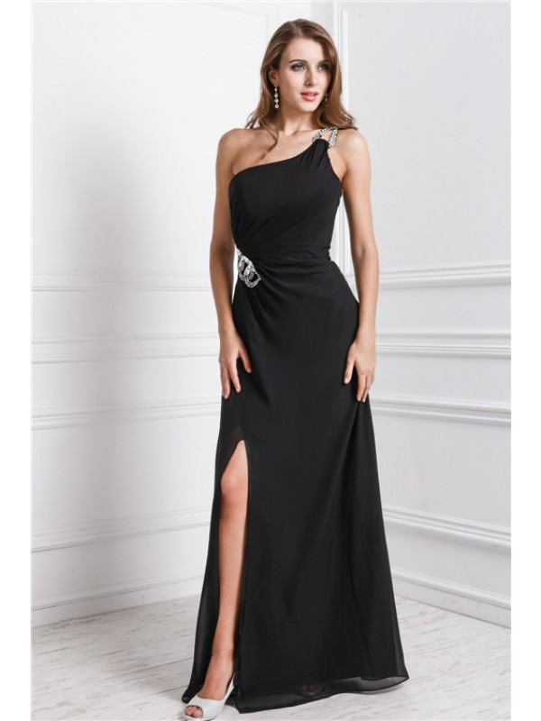 Sheath/Column One Shoulder Sleeveless Long Beading Dresses