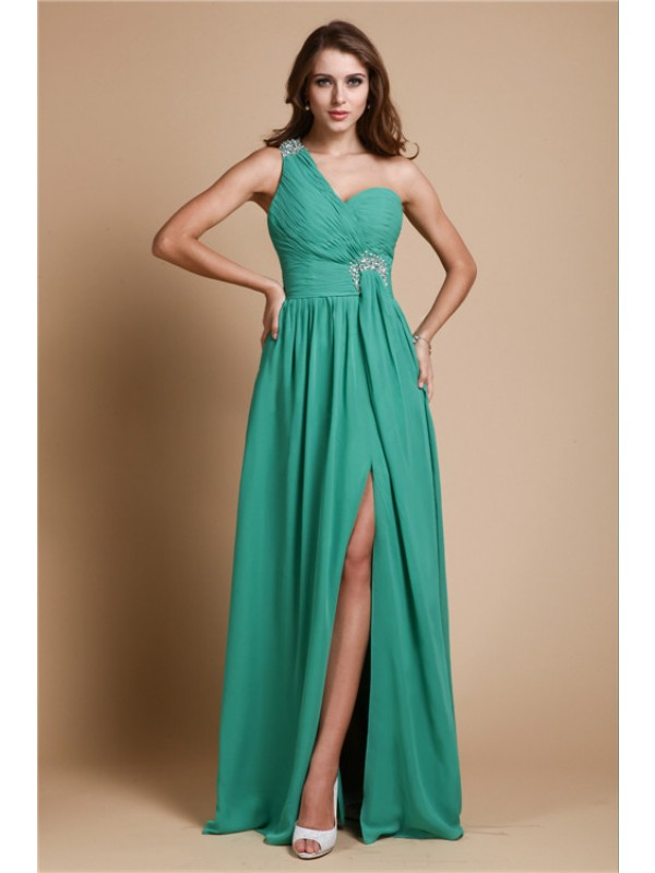 A-Line/Princess One Shoulder Sleeveless Beading Long Chiffon Dresses
