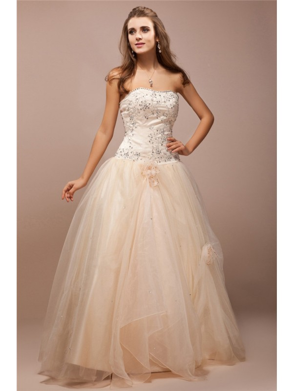 Ball Gown Strapless Sleeveless Lace Long Beading Net Satin Dresses