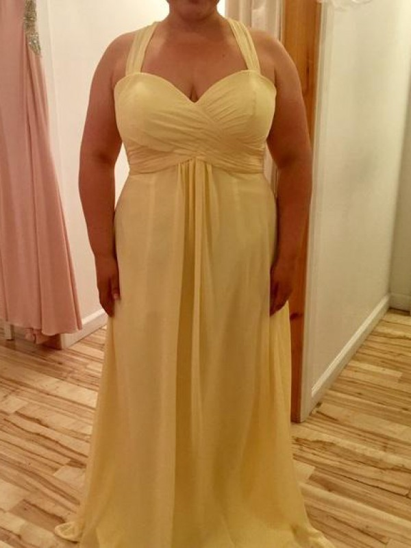 A-Line Halter Sleeveless Ruched Floor-Length Chiffon Plus Size Dresses