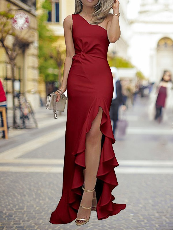 Sheath One-Shoulder Sweep/Brush Train Ruffles Silk like Satin Dresses