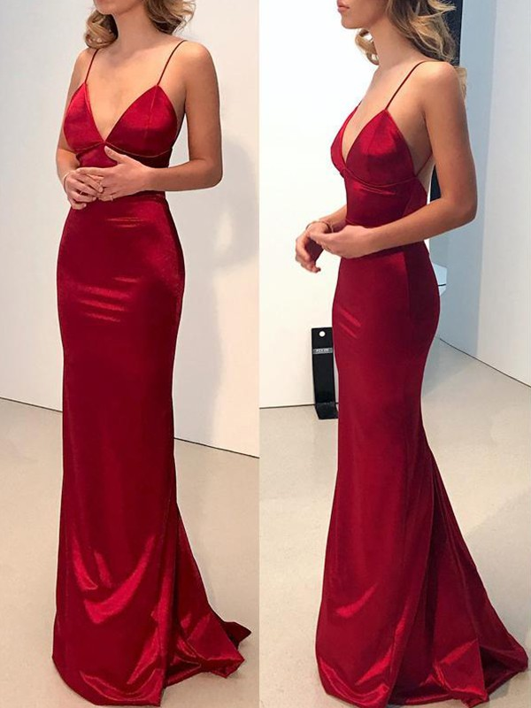 Sheath Spaghetti Straps V-neck Sweep/Brush Train Satin Dresses
