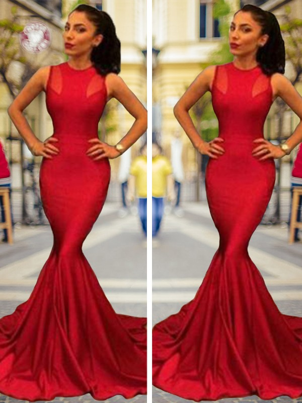 Mermaid Sleeveless Jewel Court Train Satin Dresses