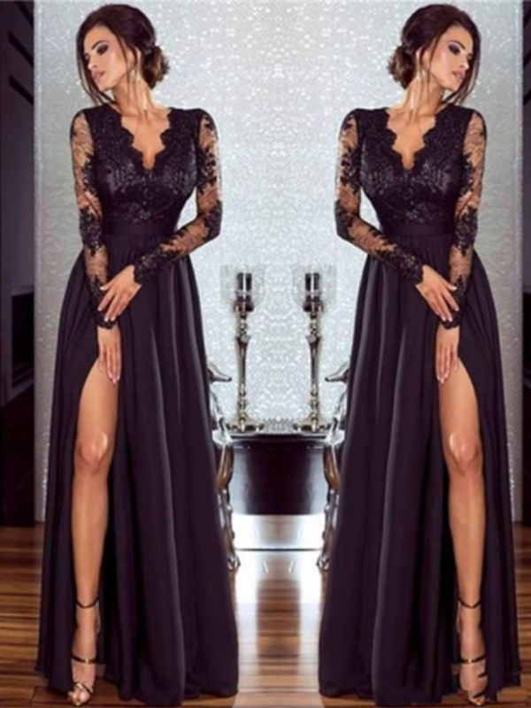 A-Line Long Sleeves V-neck Floor-Length Lace Chiffon Applique Dresses