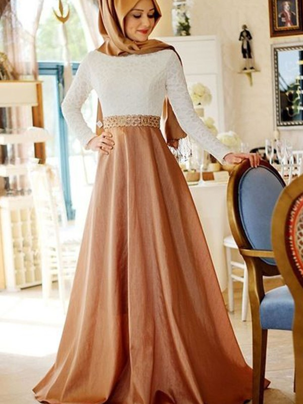 A-Line Long Sleeves Scoop Sweep/Brush Train Lace Satin Muslim Dresses