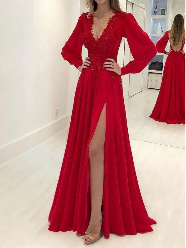 A-Line Long Sleeves V-neck Sweep/Brush Train Applique Chiffon Dresses