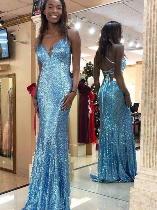 Sequins Trumpet/Mermaid Sweep/Brush Train Ruffles Sleeveless V-neck Dresses