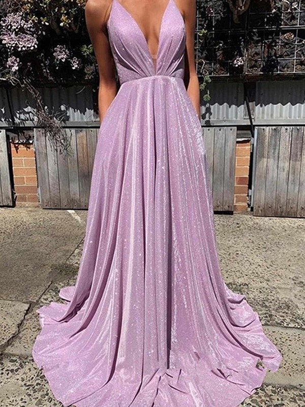 V-neck A-Line/Princess Sweep/Brush Train Sleeveless Satin Ruffles Dresses