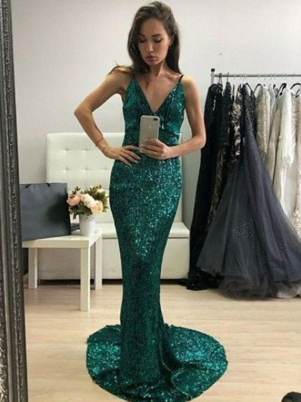 Sequins Trumpet/Mermaid Sleeveless Sweep/Brush Train V-neck Ruffles Dresses