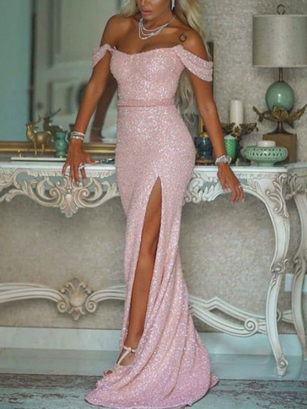 Off-the-Shoulder Trumpet/Mermaid Sweep/Brush Train Sash/Ribbon/Belt Sequins Sleeveless Dresses