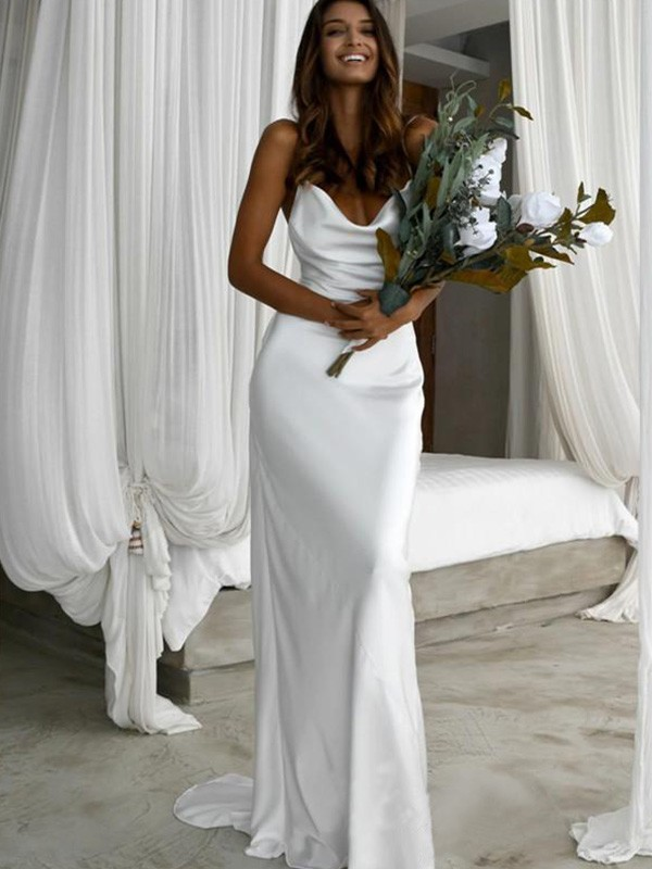 Silk like Satin Sheath/Column Sleeveless Spaghetti Straps Ruched Sweep/Brush Train Wedding Dresses