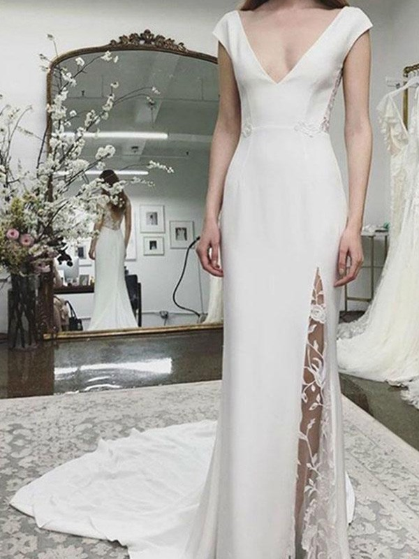 Satin Sheath/Column Court Train V-neck Lace Sleeveless Wedding Dresses