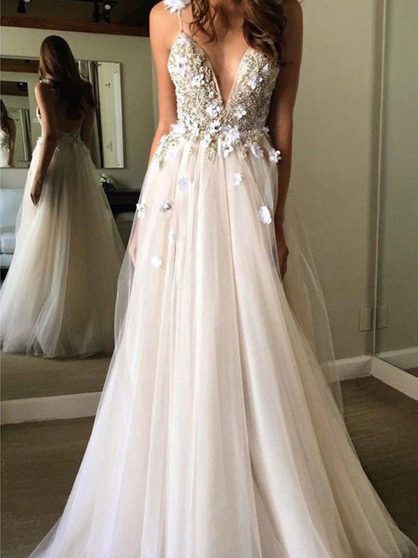 Tulle A-Line/Princess Floor-Length V-neck Beading Sleeveless Wedding Dresses