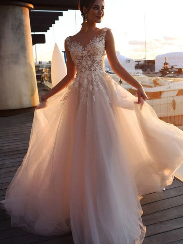 Bateau A-Line/Princess Tulle Short Sleeves Applique Sweep/Brush Train Wedding Dresses