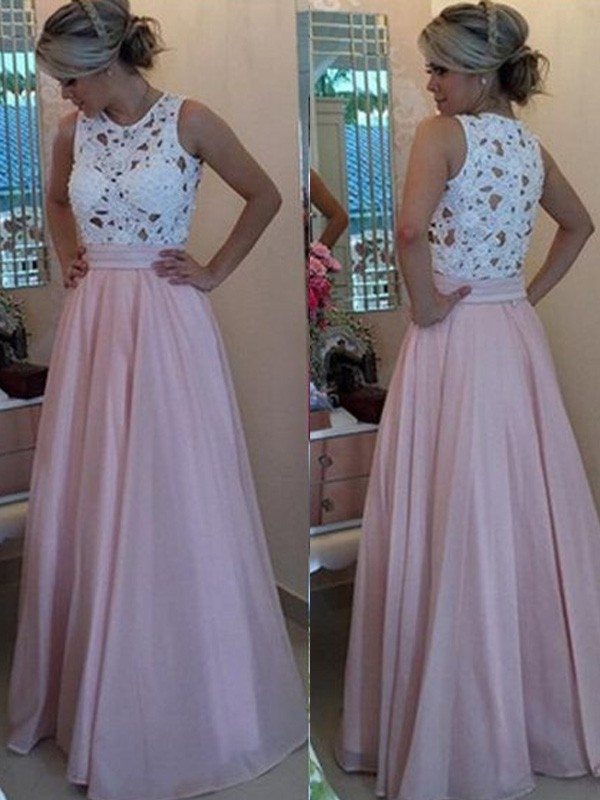 A-Line/Princess Sleeveless Scoop Floor-Length Applique Organza Dresses