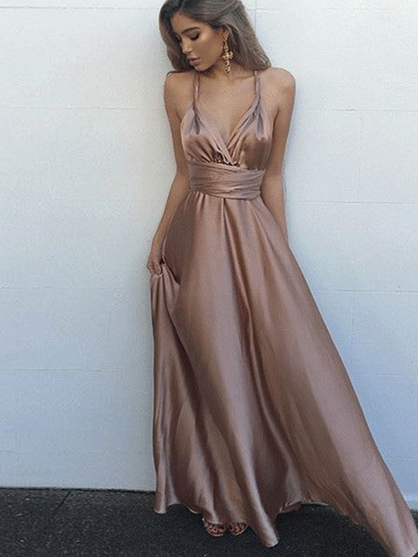 A-Line/Princess Sleeveless Spaghetti Straps Satin Floor-Length Sash/Ribbon/Belt Dresses