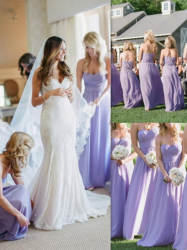 A-Line Sleeveless Chiffon Floor-Length Sweetheart Bridesmaid Dresses