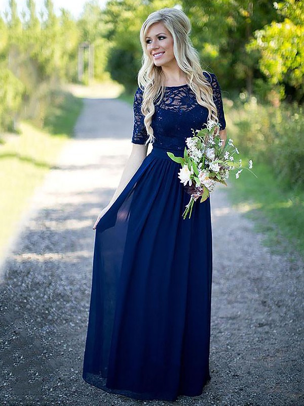 A-Line Scoop 1/2 Sleeves Floor-Length Chiffon Bridesmaid Dresses