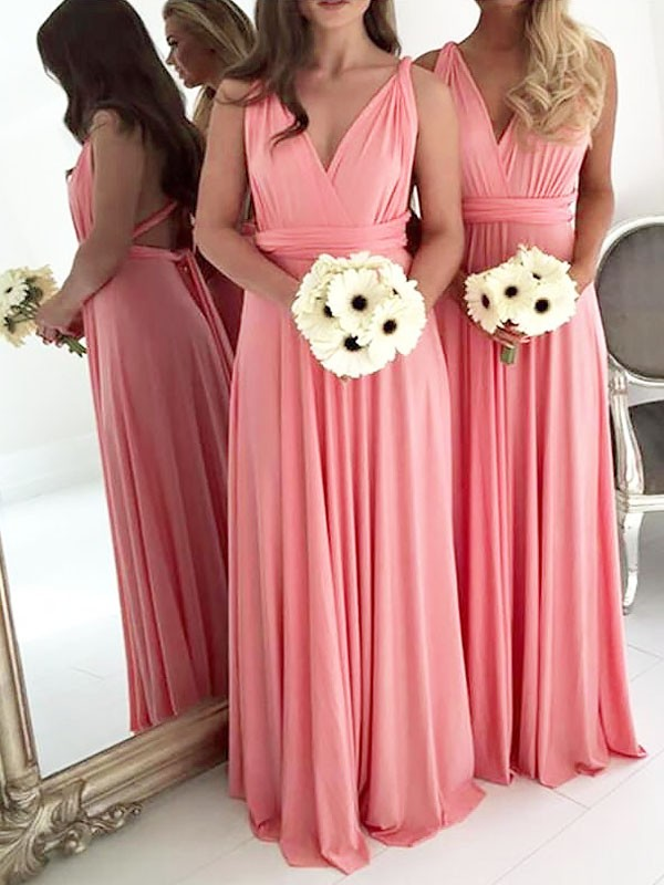 A-Line V-neck Floor-Length Chiffon Sleeveless Bridesmaid Dresses