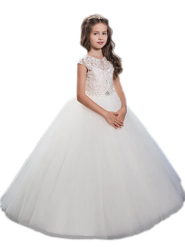 Ball Gown Scoop Sleeveless Beading Floor-Length Tulle Flower Girl Dresses