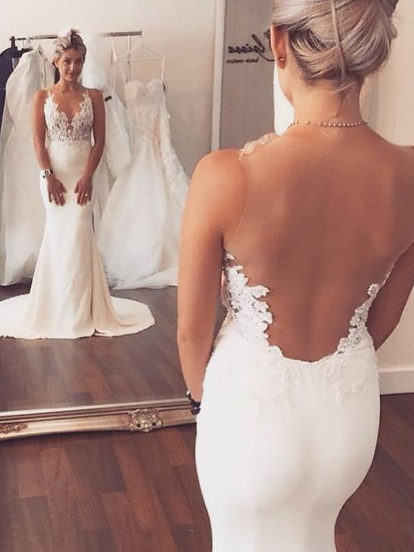 Mermaid Satin Applique Scoop Sleeveless Court Train Wedding Dresses