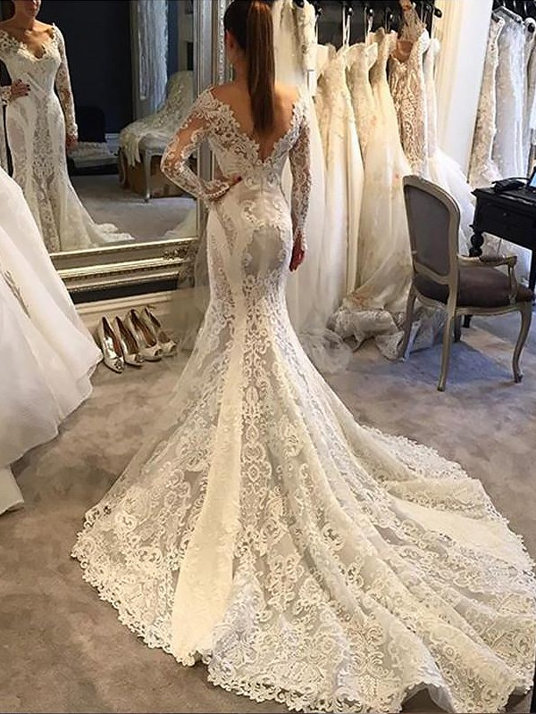 Mermaid V-neck Long Sleeves Court Train Lace Wedding Dresses