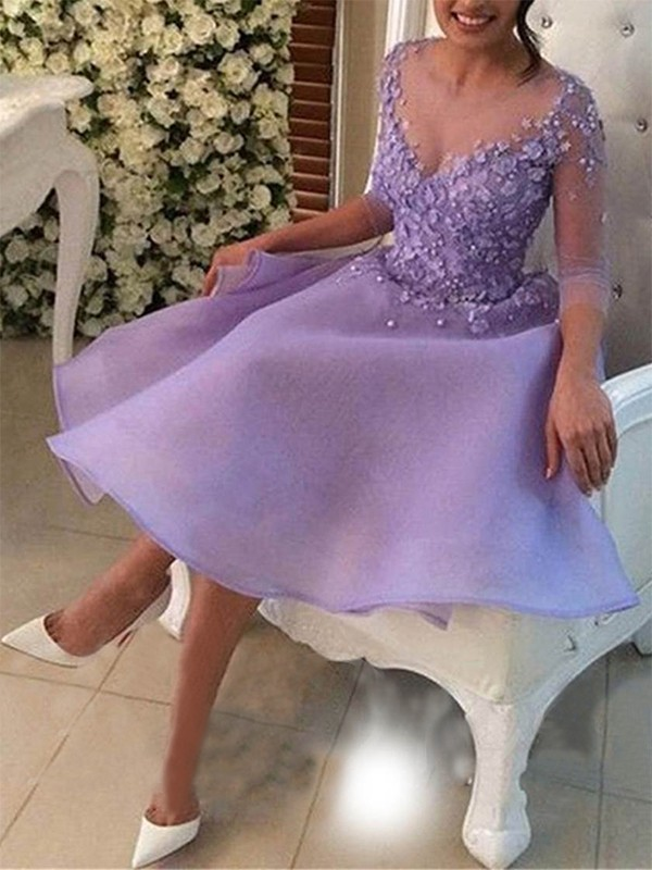 A-Line/Princess Knee-Length V-neck 3/4 Sleeves Organza Dresses With Applique