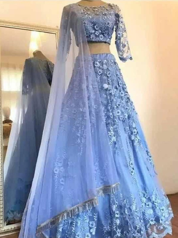 A-Line/Princess Scoop Tulle Applique 3/4 Sleeves Long Two Piece Dresses