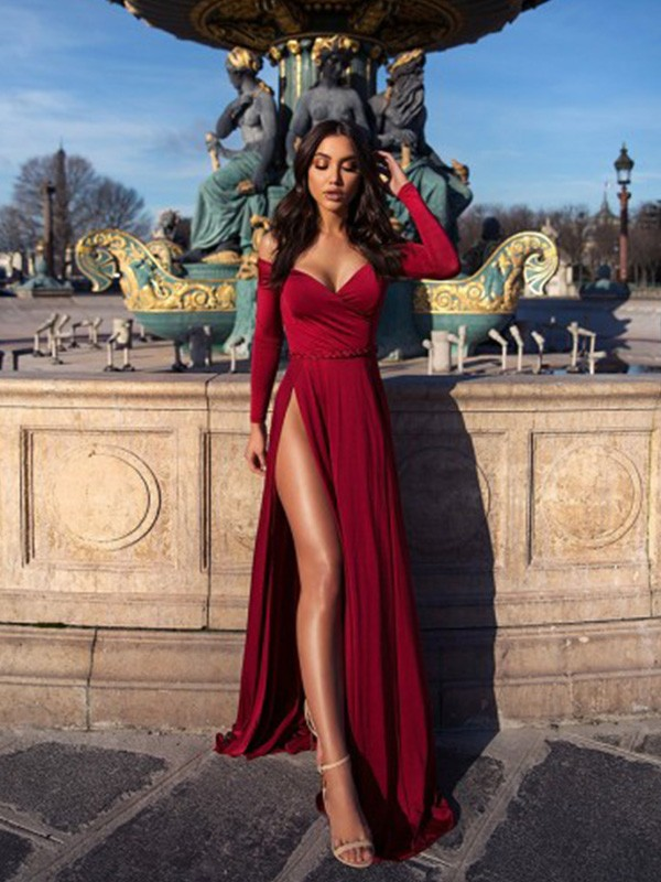A-Line/Princess Ruched Off-the-Shoulder Long Sleeves Elastic Woven Satin Long Dresses