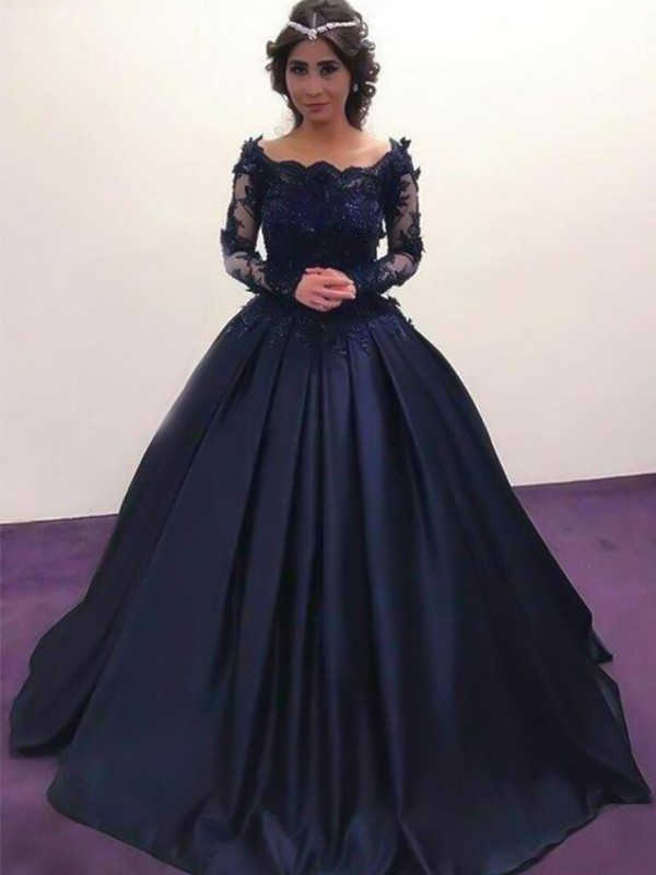 Ball Gown Bateau Long Sleeves Satin Sweep/Brush Train Dresses With Applique