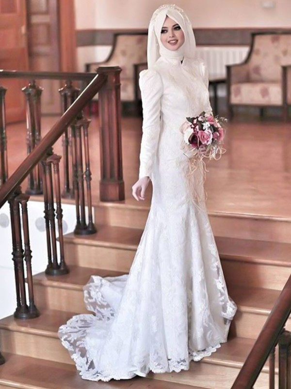 Trumpet/Mermaid High Neck Lace Long Sleeves Tulle Sweep/Brush Train Wedding Dresses