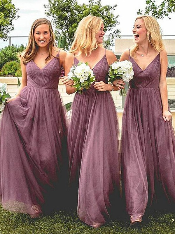 Floor-Length A-Line/Princess Spaghetti Straps Ruffles Sleeveless Tulle Bridesmaid Dresses