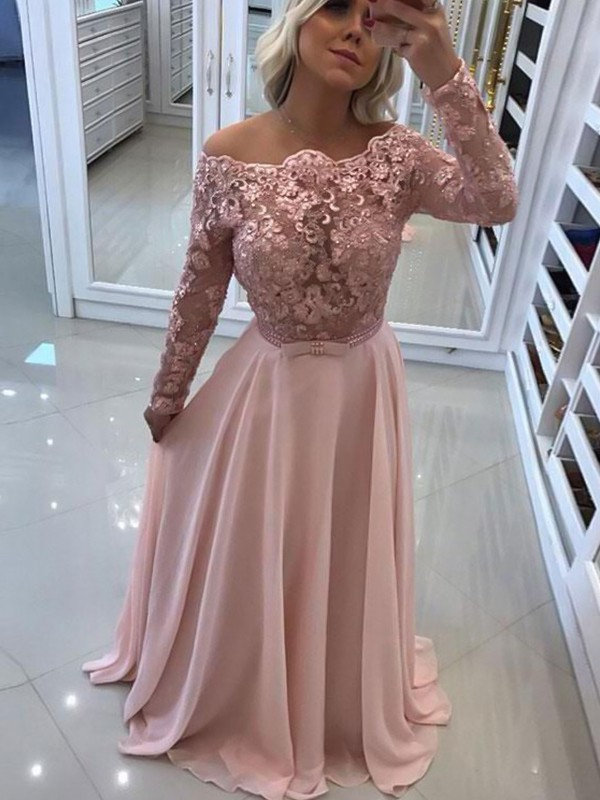 A-Line/Princess Bateau Floor-Length Lace Chiffon Long Sleeves Dresses