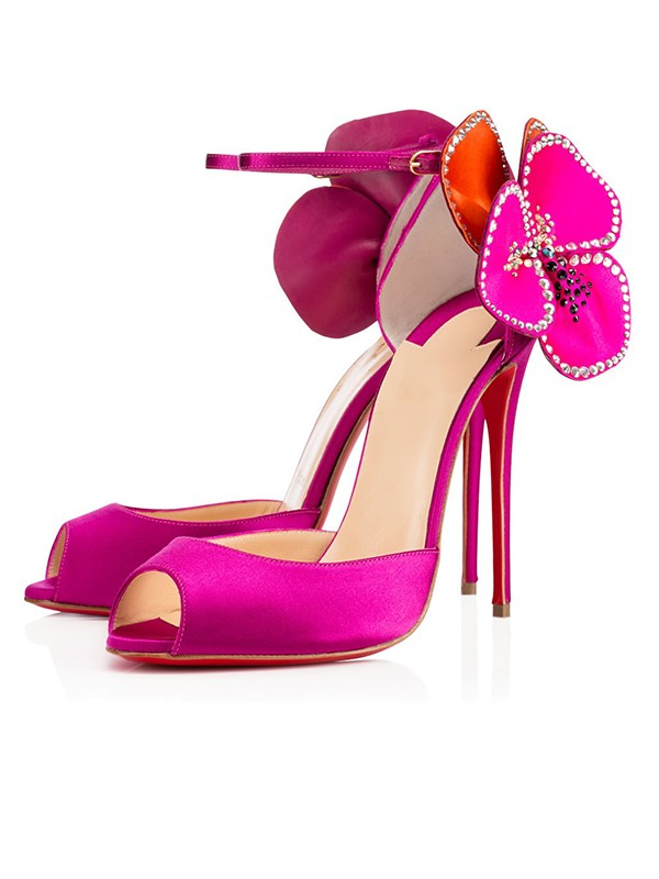 Women's Satin Peep Toe with Flower Stiletto Heel High Heels