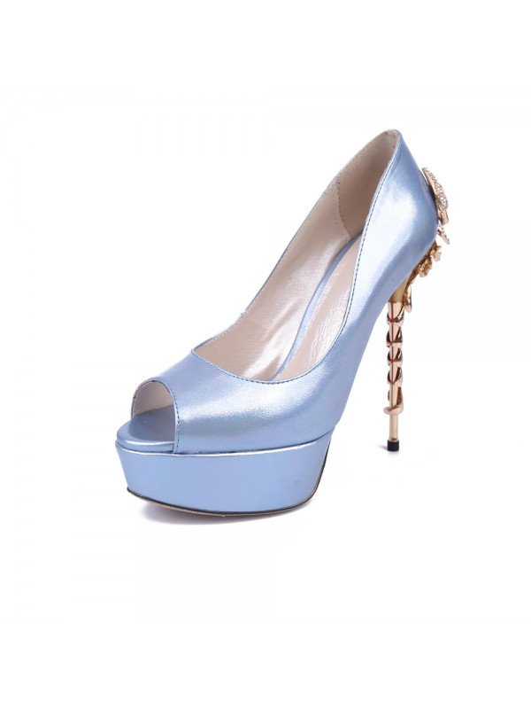 Women's Peep Toe Stiletto Heel Platform Patent Leather With Rhinestone Platforms Shoes