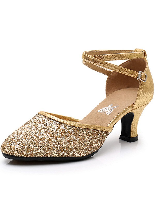 Luxury Sparkling Glitter Cone Heel Closed Toe Women's Sandals