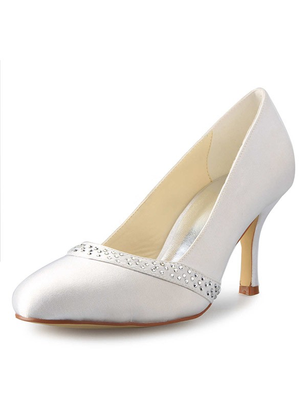 Women's Stiletto Heel Closed Toe Satin With Rhinestone White Wedding Shoes