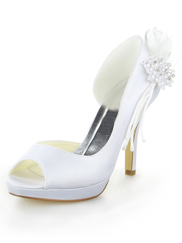 Women's Satin Platform Peep Toe Stiletto Heel With Pearl White Wedding Shoes