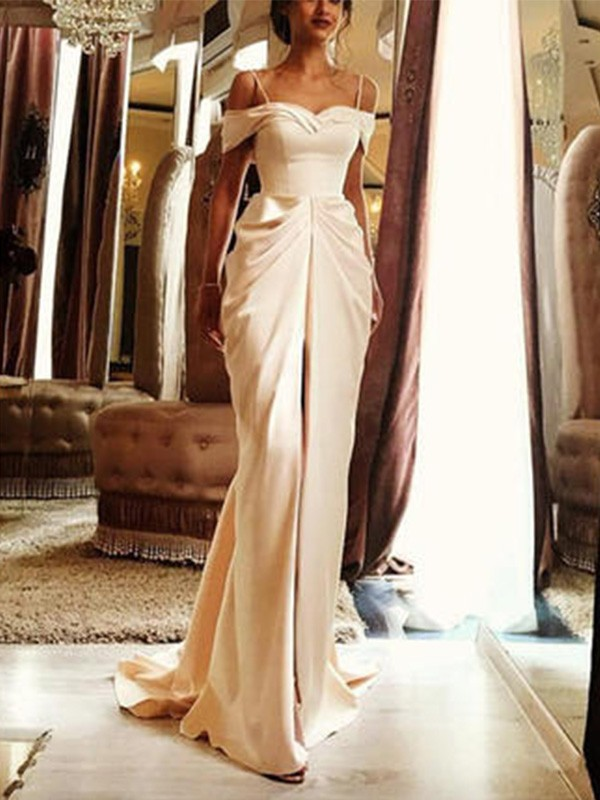Sheath Sweep/Brush Train Off-the-Shoulder Short Sleeves Silk like Satin Wedding Dress