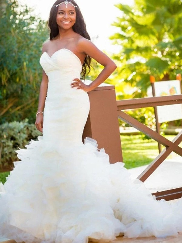 Mermaid Sleeveless Sweetheart Court Train Organza Wedding Dress