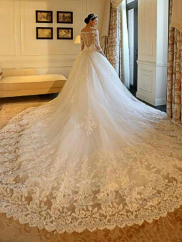 Ball Gown Off-the-Shoulder Cathedral Train 3/4 Sleeves Tulle Wedding Dress