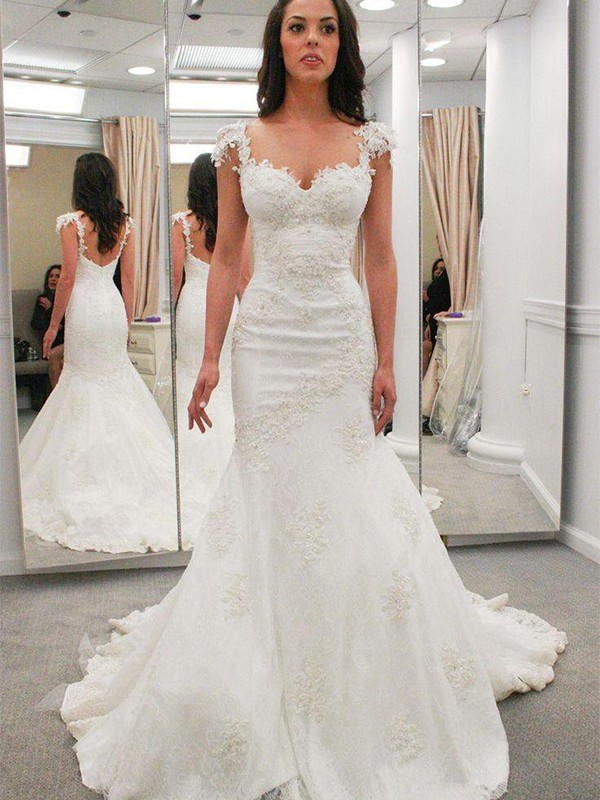 Mermaid Sweetheart Short Sleeves Chapel Train Lace Wedding Dress