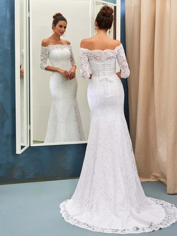 Mermaid Off-the-Shoulder 1/2 Sleeves Lace Sweep/Brush Train Wedding Dress