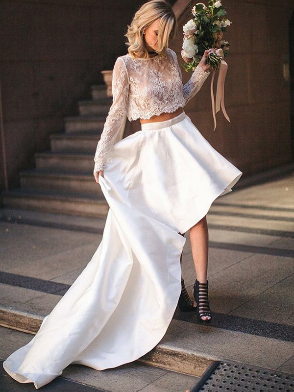 A-Line Satin Lace Scoop Long Sleeves Sweep/Brush Train Two Piece Wedding Dress