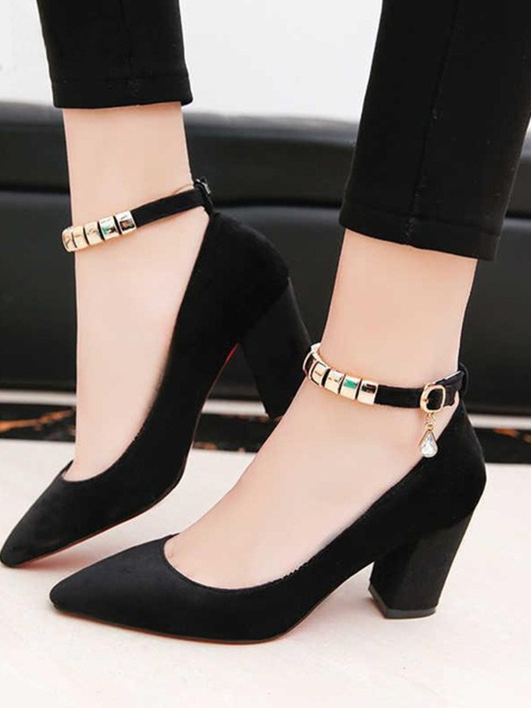 Elegant PU Chunky Heel Closed Toe Women's Sandals