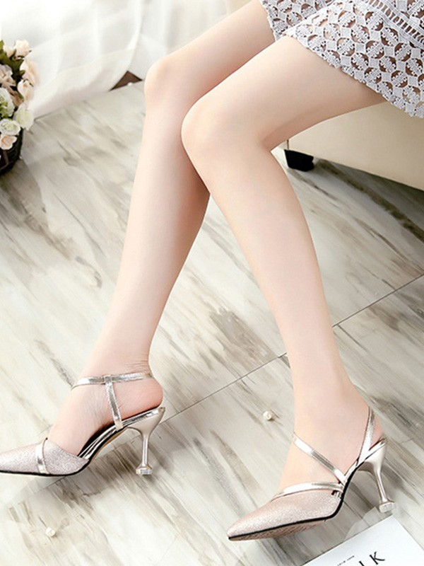 Attractive PU Stiletto Heel Closed Toe Women's Sandals