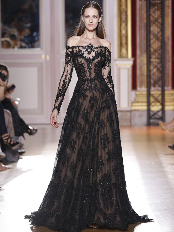 A-Line/Princess Off-the-Shoulder Long Sleeves Lace Sweep/Brush Train Dresses