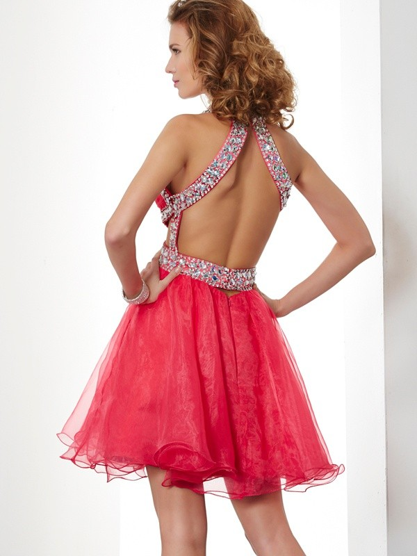 A-Line/Princess Halter Sleeveless Beading Short Organza Dresses