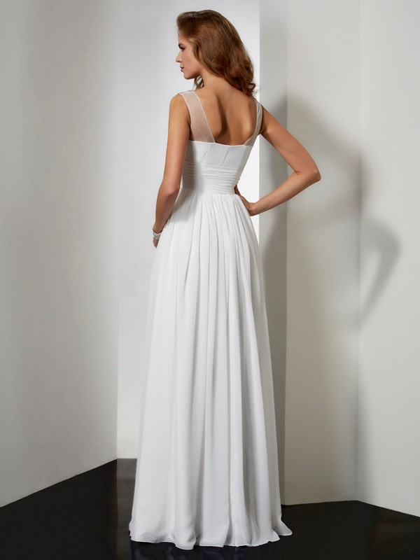 A-Line/Princess Straps Sleeveless Beading Chiffon Long Dresses